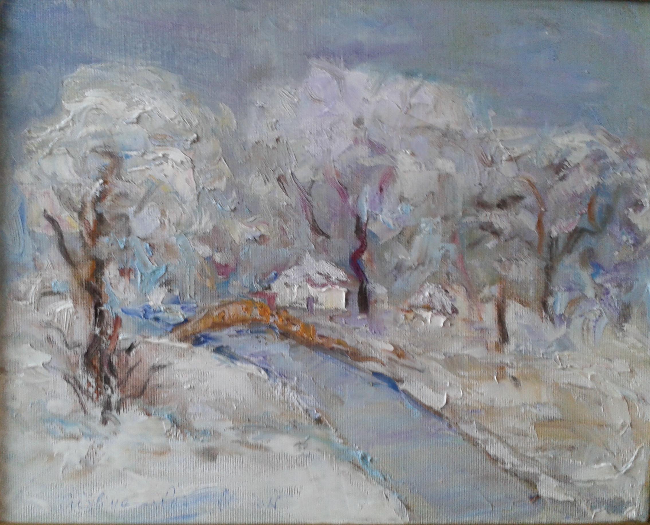 Iarna-ulei pe pânză- 30x35cm