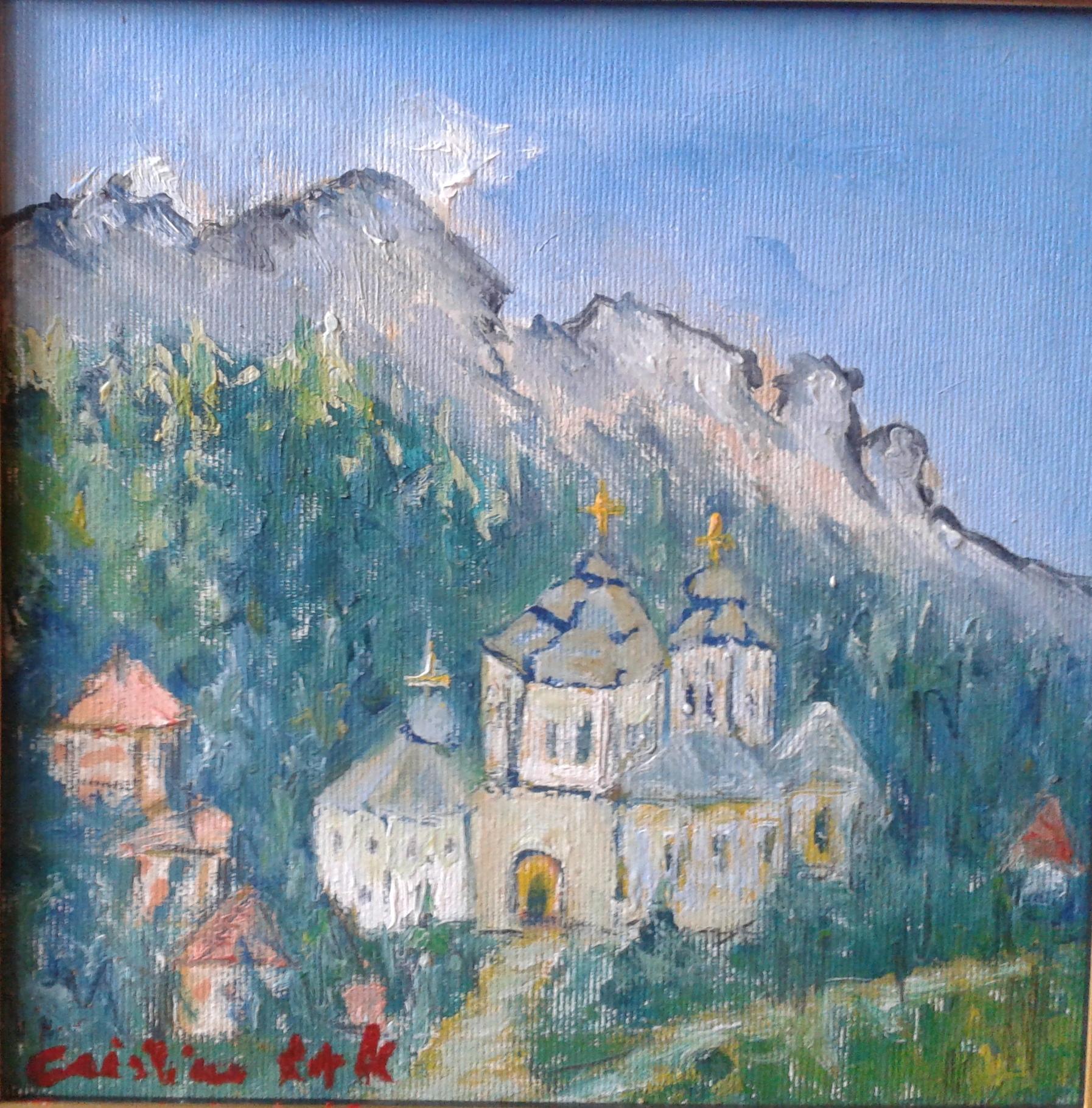 Mănăstirea de sub munte-ulei pe pânză- 30x30 cm