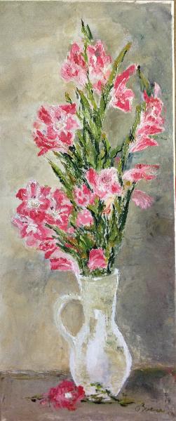 Gladiole roz - ulei pe panza, 70x30 cm