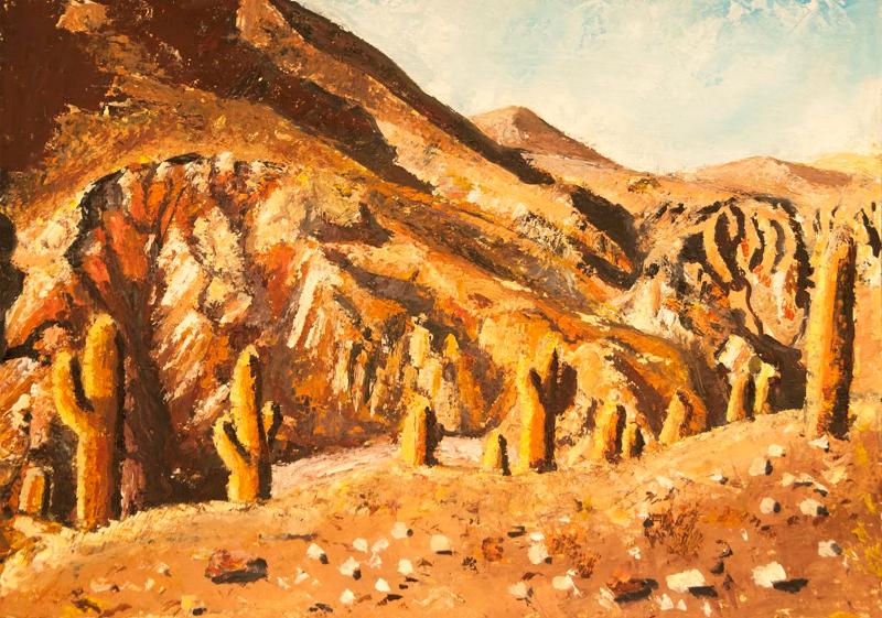 Peisaj cu cactusi - ulei pe carton panzat, 35x50 cm