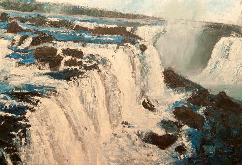 Cascada Iguacu 1 - ulei pe carton panzat, 35x50 cm