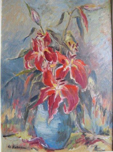 Crini rosii 40x30cm, ulei/carton