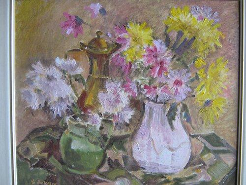 Vas cu flori 33x40cm, ulei/carton