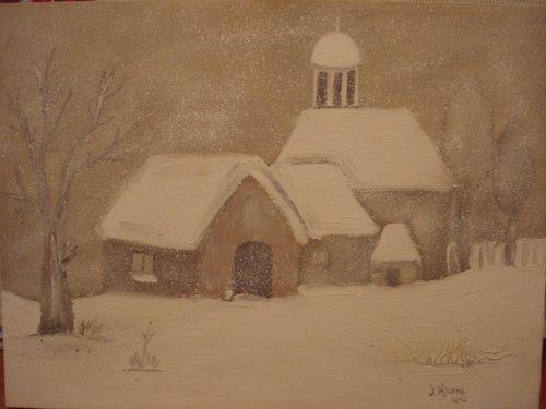 Peisaj de iarna cu biserica