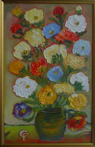 Flori de gradina 50x40cm, ulei/panza
