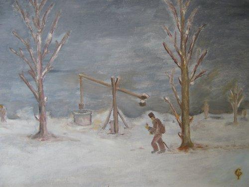 Peisaj de iarna 50x65cm, ulei/carton