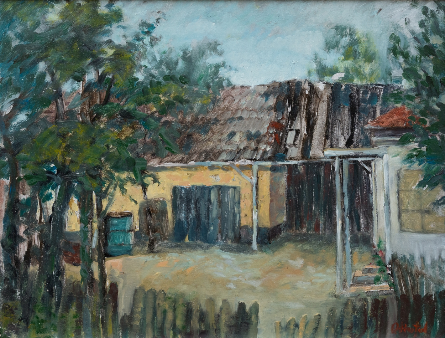 Casa din satul Harsa-ulei pe carton-34x44