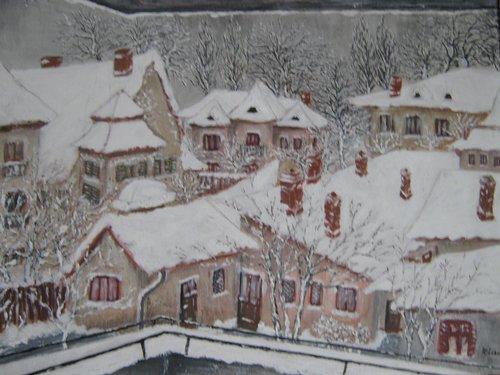Iarna citadina 49x62cm, tempera/carton