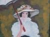 Doamna cu umbrela 47x34cm, tempera/carton