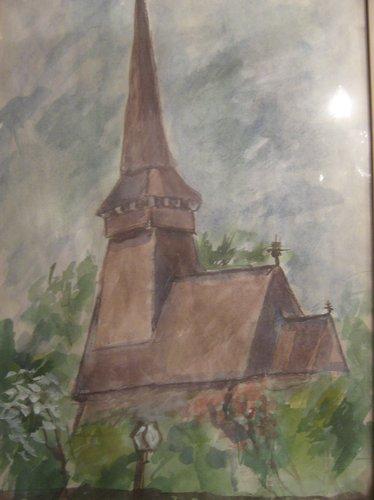 Biserica maramuresana 40x28cm, acuarela