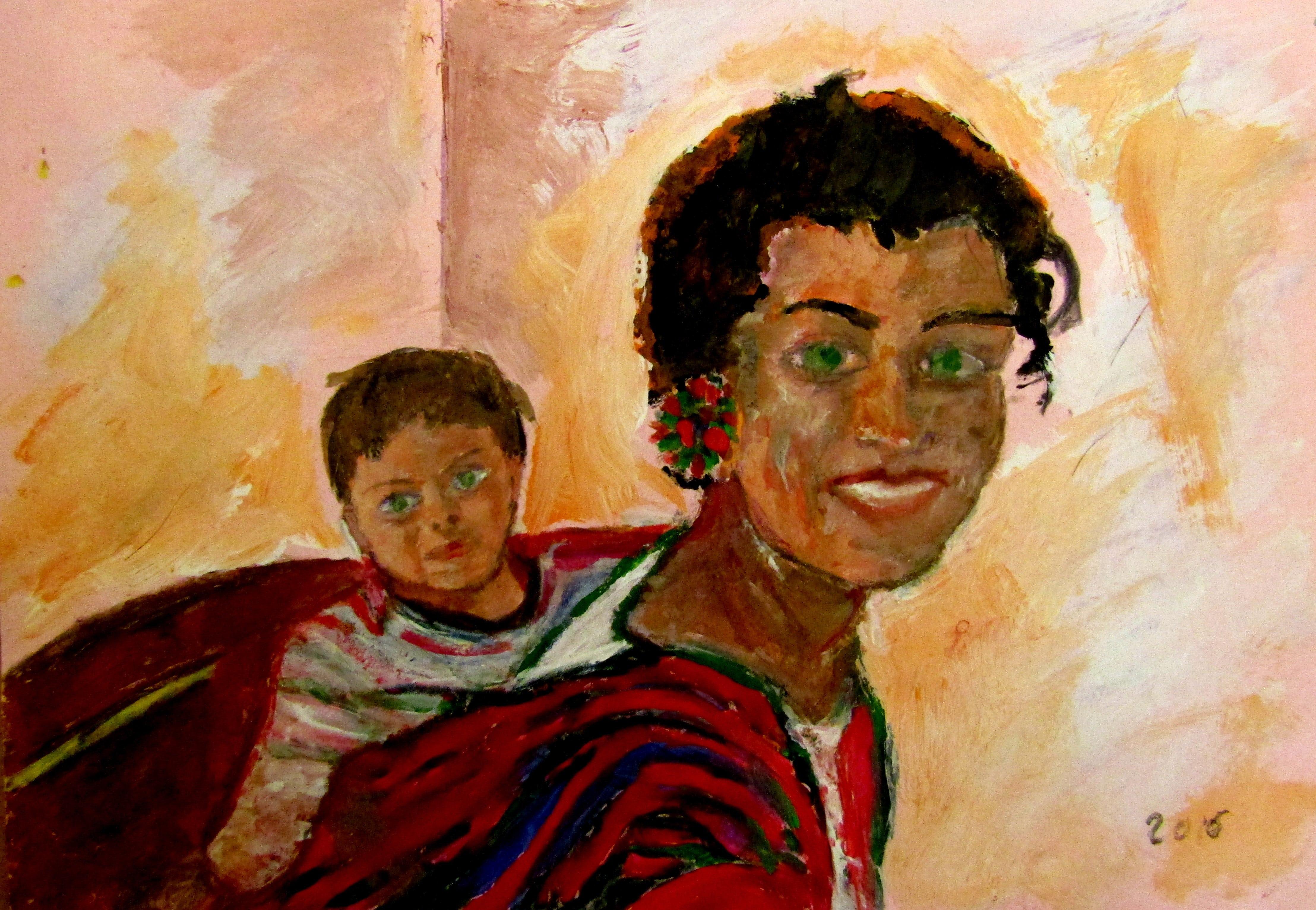 Tânără peruană cu fiul (30/40,tempera pe carton)
