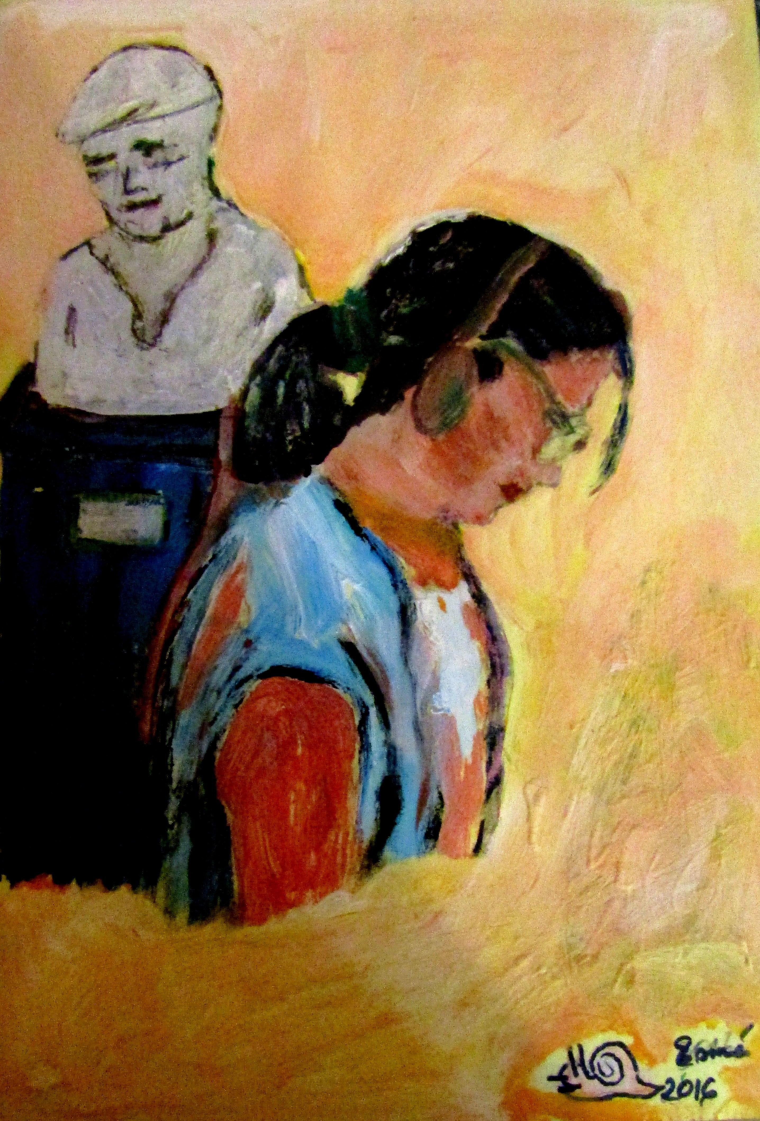 La muzeu-autoportret (30/40, tempera pe carton)