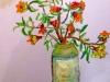 Flori într-o sondă de bere(30/40, tempera pe carton)