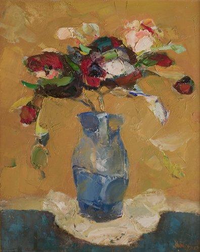 Flori in vas albastru