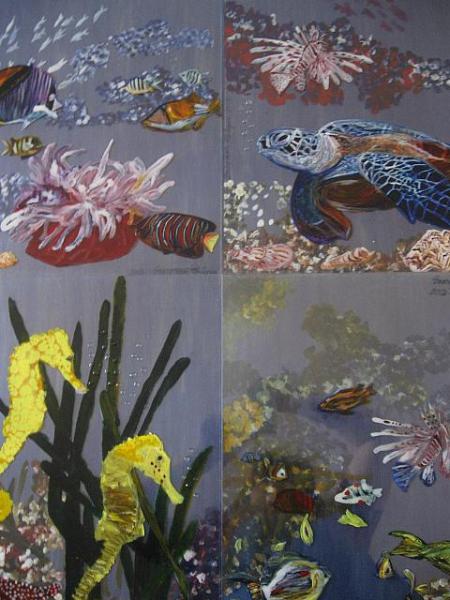 Marina / 4 tablouri a 50 x 40 cm fiecare / pictura pe lemn si sticla sintetica cu culori vitraliu / 2013;