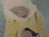 IARNA ALBASTRA -  Fetita si pasarea / 29 x 21 cm / tehnica mixta, pictura pe lemn / 2014;