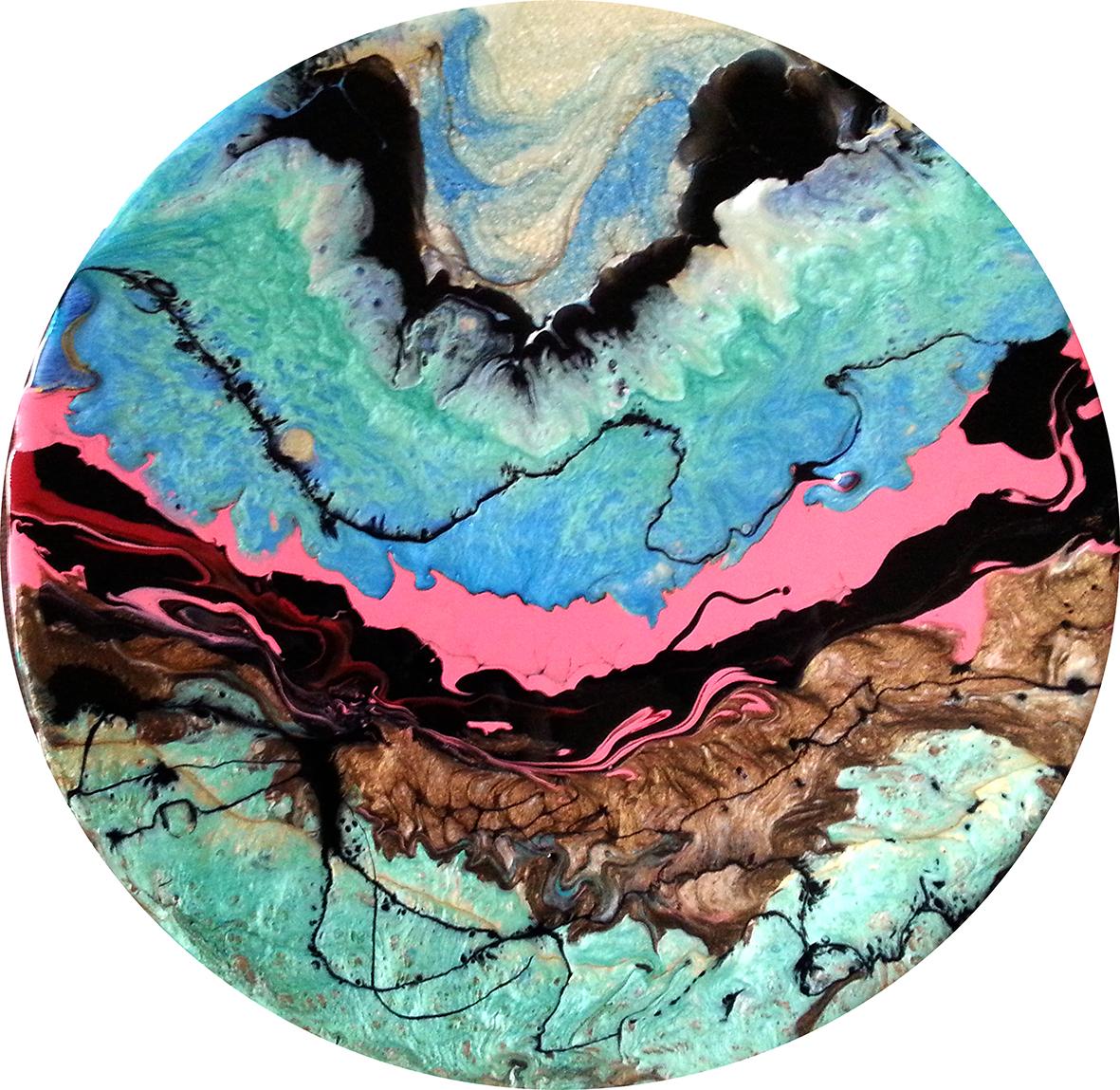 7-New Earth- tehnica mixta, 30x30 cm