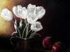 Lalele albe,ulei pe panza.70x50 cm