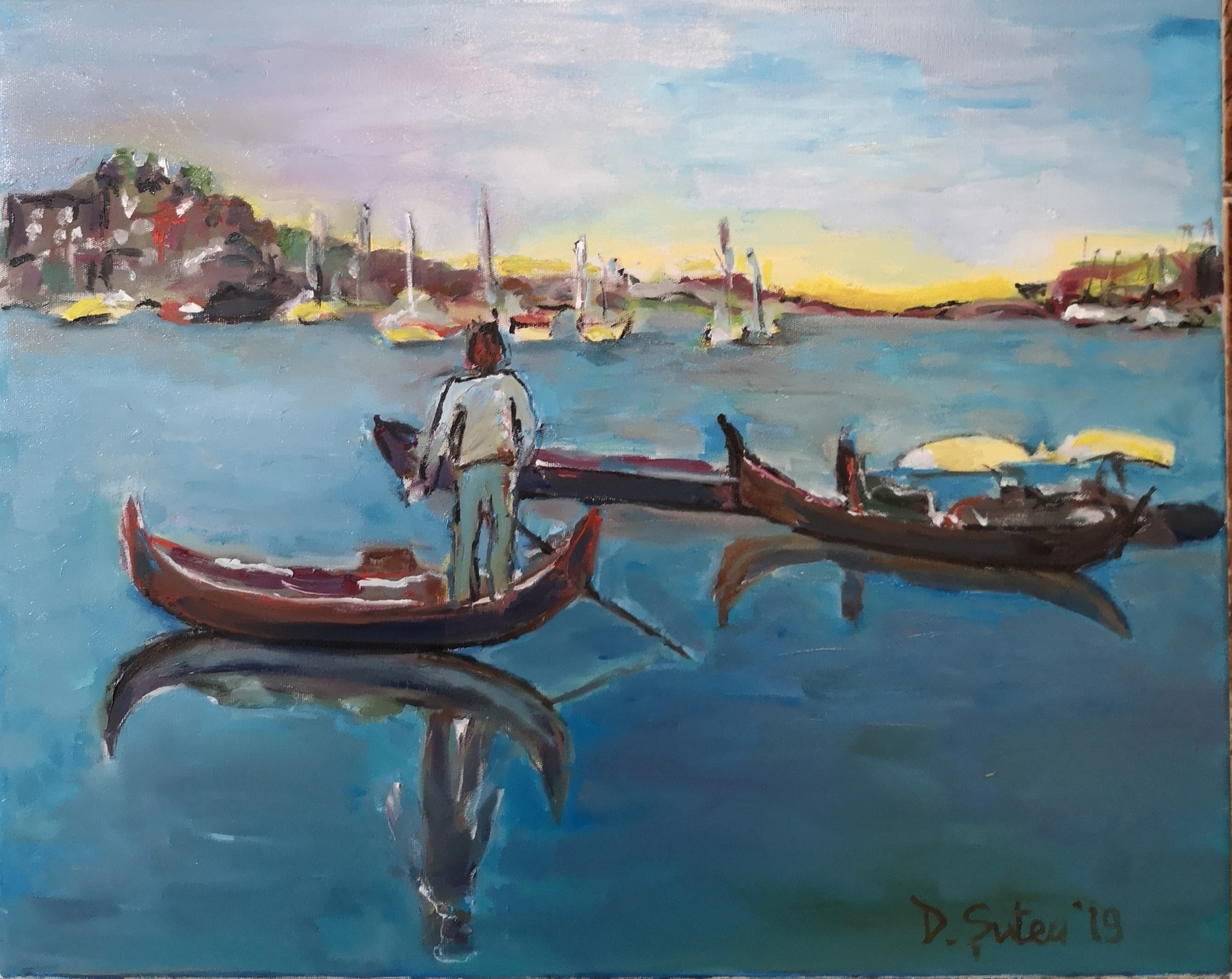 Gondole-in-portul-Tomis-u-pe-p-40x50-min