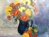 Flori in ulcica albastra - ulei pe panza, 40x40 cm